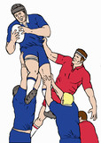 rugby lineout catch lifting poster