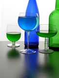 blue and green colours,glass and fluids poster