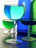 blue and green colours of glass and of fluids poster