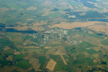 aerial view - city, fields and river
