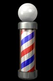 barber pole on black poster