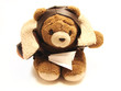 teddy bear pilot with an paper airplane isolated in a white back