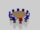 ten armchairs behind a round glass table poster