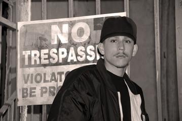 latino boy - black and white portrait