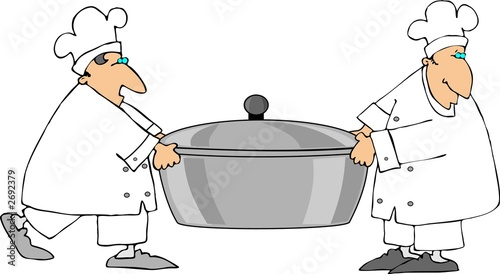 poster of two chefs carrying a large pot