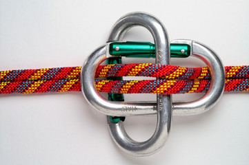mountaineering: carabiner brake  for  double rope