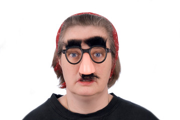 woman wearing fake nose and glasses