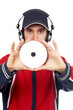 disc jockey holding a compact disc