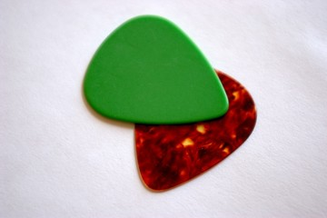 guitar picks on white