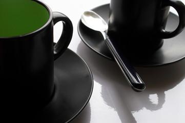 cups, plates, tea-spoon