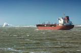 big ship in rough sea poster