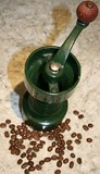 coffee grinder and beans poster