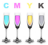 four glasses with a different liquid on color. cmyk. poster