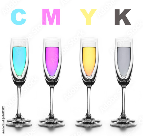 four glasses with a different liquid on color. cmyk. t-shirt