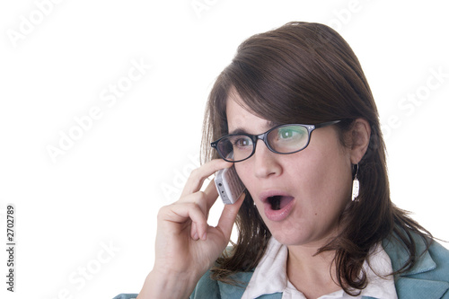secretary or business woman shouting someone through her cell ph