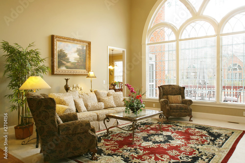 beautiful family room with arched window