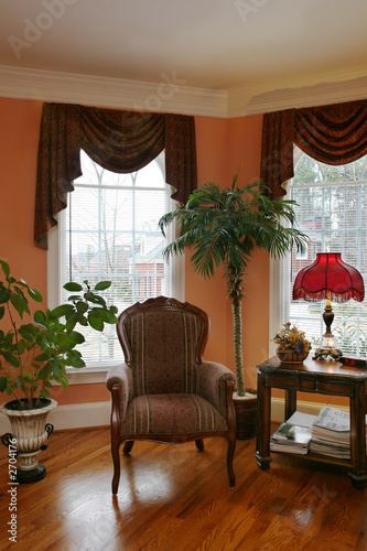 living room with bay window