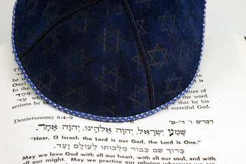 jewish kippah and shema
