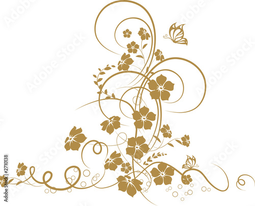 Foto op Canvas Vlinders in Grunge floral background