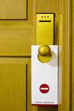 tag on door handle poster