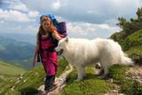 backpacker girl with samoyed dog poster