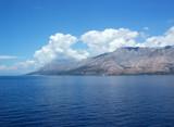 biokovo mountain reflection in adriatic sea 1 poster