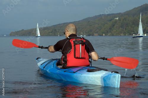 Leinwanddruck Bild kayaking on lake windermere