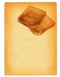 sheet of old paper with toast bread motif poster