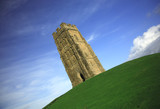 quirky angle of glastonbury tor poster