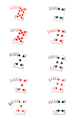 all poker hands on white
