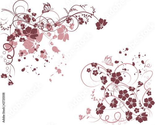 Deurstickers Vlinders in Grunge floral frame