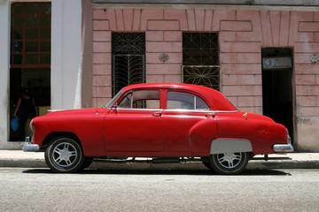 vintage red car, havana
