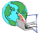 laptop with hand typing connecting to globe sketch poster