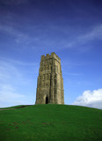 glastonbury tor against a vivid blue sky poster