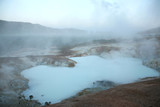 steaming volcanic pool poster