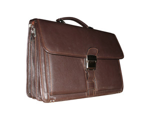 briefcase leather isolated brown