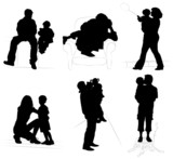 silhouettes of parents with children poster