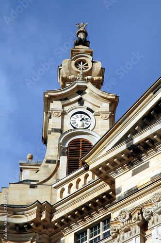 frauenkirche steeple & clock in dresden, germany