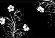 floral black and white background