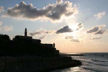 old jaffa harbor silhouette