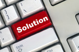keyboard with red button of solution poster