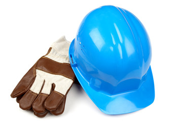 blue helmet and working gloves