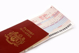 passport and airline ticket poster