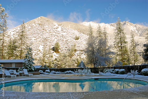 mountainside pool in winter