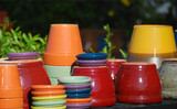 colorful clay pots poster