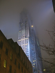 very high tower by night with blue colors, new york