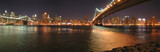 Fototapety two bridges with brooklyn one by night, new york, panorama