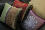 close-up of pillows on a couch poster
