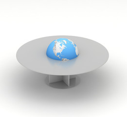 earth in center of business table