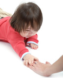 child reaching for moms hand poster